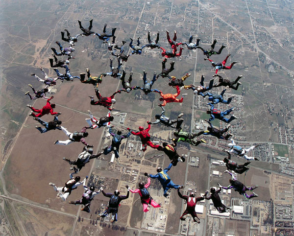 large skydiving group